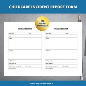 Childcare Printable Incident Form IR001