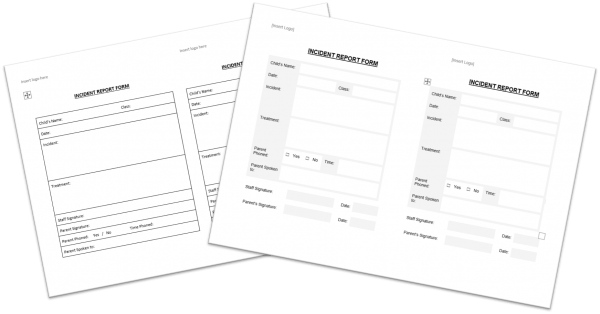 Incident Report Form for Nursery