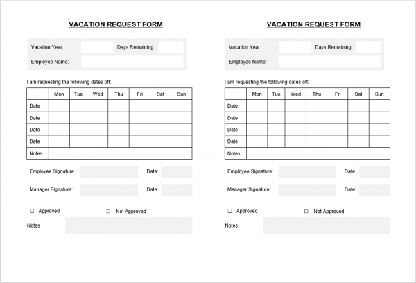 Holiday Vacation Form